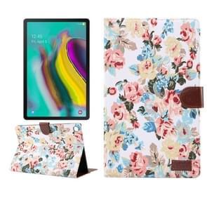 Bloem doek textuur PC horizontale Flip lederen beschermende case voor Galaxy tab S5e T720/T725  met houder & kaartsleuven & portemonnee & fotolijstjes (wit)