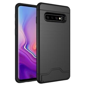 Ultra-thin TPU+PC Brushed Texture Shockproof Protective Case for Galaxy S10, with Holder & Card Slot (Black)