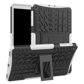 Tire Texture TPU + PC schokbestendig Case voor Galaxy tab A 10 1 2019 T510/T515  met houder (wit)