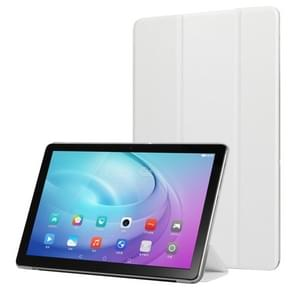 Silk Texture Horizontal Flip Leather Case with Three-Folding Holder for Galaxy Tab T510 (White)