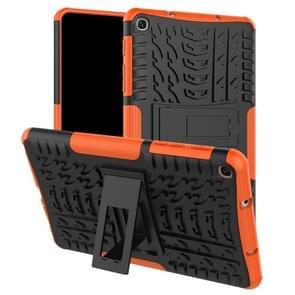 Tire Texture TPU + PC schokbestendig geval voor Galaxy tab A 8 (2019) P200/P205  met houder (Orange)