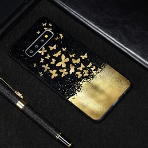 Gold Butterfly Painted Pattern Soft TPU Case for Galaxy S10e