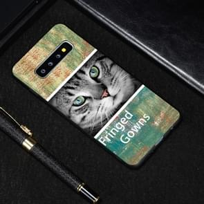 Cat Painted Pattern Soft TPU Case for Galaxy S10+