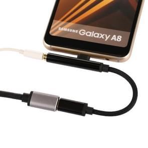 3 in 1 Type-C Male naar 3.5mm vrouwelijk Nylon oortelefoon Audio Adapter (zwart)