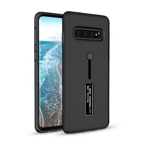 Shockproof Frosted TPU + PC Protective Case for Galaxy S10, with Holder (Black)