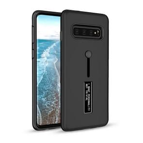 Shockproof Frosted TPU + PC Protective Case for Galaxy S10 Plus, with Holder (Black)