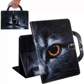 Half-Faced Cat Pattern Horizontal Flip Leather Case for Galaxy Tab A 8 (2019) / P200 / P205, with Holder & Card Slot & Wallet