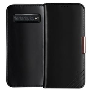 DZGOGO ROYALE II Series Magnetic Horizontal Flip Genuine Leather Case for Galaxy S10 E, with Card Slots & Holder (Black)