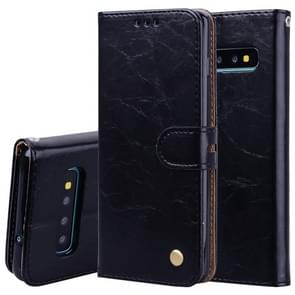 Business Style Oil Wax Texture Horizontal Flip Leather Case for Galaxy S10 Plus, with Holder & Card Slots & Wallet (Black)