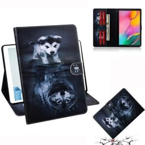 Wolf and Dog Pattern Horizontal Flip Leather Case for Galaxy Tab A 10.1 (2019) T510 / T515, with Holder & Card Slot & Wallet