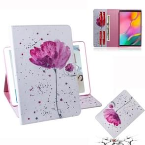 Purple Orchids Pattern Horizontal Flip Leather Case for Galaxy Tab A 10.1 (2019) T510 / T515, with Holder & Card Slot & Wallet