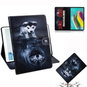 Wolf en hond patroon horizontale Flip lederen case voor Galaxy tab S5E T720/T725  met houder & Card slot & portemonnee