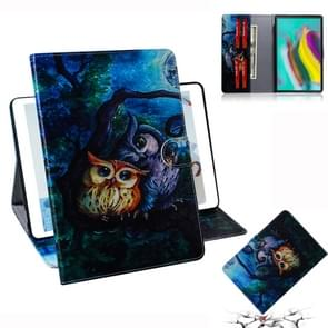 Oil Owl Pattern Horizontal Flip Leather Case for Galaxy Tab S5E T720 / T725, with Holder & Card Slot & Wallet