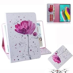 Paarse orchideeën patroon horizontale Flip lederen case voor Galaxy tab S5E T720/T725  met houder & Card slot & portemonnee