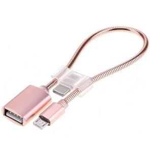 24cm 2A micro USB naar USB aluminiumlegering slang OTG adapter data laadkabel met USB-C/type-C connector  voor Galaxy  Huawei  Xiaomi  HTC  Sony  LG en andere smartphones (Rose Gold)