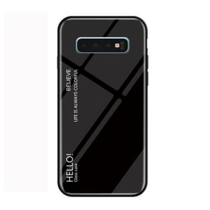 Gradient Color Glass Protective Case for Galaxy S10 (Black)