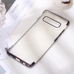Three Sections Electroplating Side TPU Protective Back Case for Galaxy S10 Plus (Black)