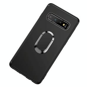 Shockproof TPU Full Protective Case for Galaxy S10, with 360 Degree Rotation Holder (Black)