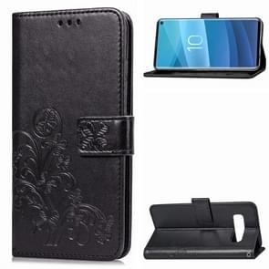 Lucky Clover Pressed Flowers Pattern Leather Case for Galaxy S10, with Holder & Card Slots & Wallet & Hand Strap(Black)