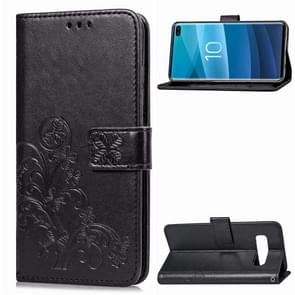 Lucky Clover Pressed Flowers Pattern Leather Case for Galaxy S10+, with Holder & Card Slots & Wallet & Hand Strap(Black)