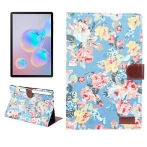 For Galaxy Tab S6 10.5 T860 Dibase Flower Pattern Cloth Surface Horizontal Flip PC + PU Leather Case with Holder & Card Slots & Sleep / Wake-up Function (Blue)