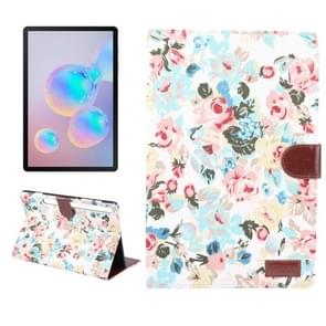 For Galaxy Tab S6 10.5 T860 Dibase Flower Pattern Cloth Surface Horizontal Flip PC + PU Leather Case with Holder & Card Slots & Sleep / Wake-up Function (White)
