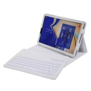 SA830 Bluetooth 3.0 Litchi Texture Detachable Bluetooth Keyboard Leather Case for Samsung Galaxy Tab S4 10.5 inch T830 / T835, with Holder (White)