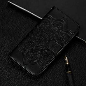 Mandala Embossing Pattern Horizontal Flip Leather Case for Galaxy S10+, with Holder & Card Slots & Wallet & Photo Frame (Black)