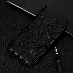 Mandala Embossing Pattern Horizontal Flip Leather Case for Galaxy S10e, with Holder & Card Slots & Wallet & Photo Frame (Black)