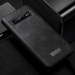 SULADA Shockproof TPU + Handmade Leather Case for Galaxy S10+ (Black)