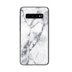 Marble Glass Protective Case for Galaxy S10(White)