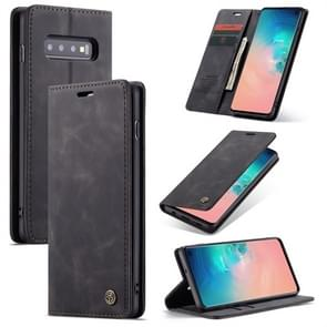 CaseMe-013 Multifunctional Retro Frosted Horizontal Flip Leather Case for Galaxy S10, with Card Slot & Holder & Wallet (Black)