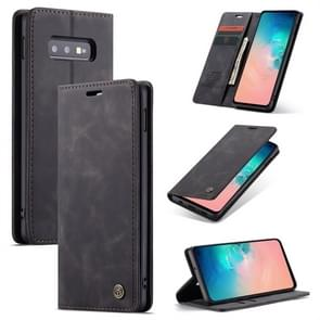 CaseMe-013 Multifunctional Retro Frosted Horizontal Flip Leather Case for Galaxy S10 E, with Card Slot & Holder & Wallet (Black)