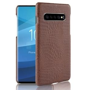 Shockproof Crocodile Texture PC + PU Case for Galaxy S10 5G (Brown)