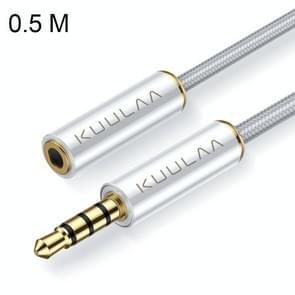 KUULAA KL-x 15 male naar 3.5 mm Female Aux audio verlengkabel, lengte: ongeveer 50cm (wit)