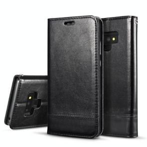 Double-sided Absorption Splicing Horizontal Flip Leather Case for Galaxy Note9, with Holder & Card Slots & Lanyard (Black)
