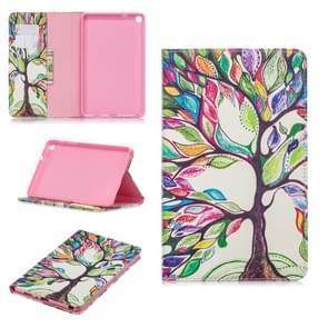 Gekleurde tekening boom van het leven patroon horizontale Flip lederen case voor Galaxy tab een 8 (2019) P200/P205  met houder & card slots & portemonnee