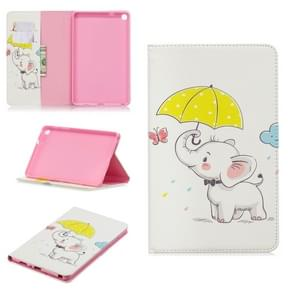 Colored Drawing Elephant under the Umbrella Pattern Horizontal Flip Leather Case for Galaxy Tab A 8 (2019) P200 / P205, with Holder & Card Slots & Wallet