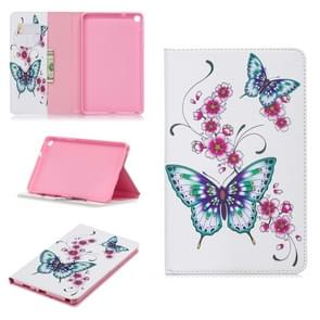 Colored Drawing Peach Blossom and Butterfly Pattern Horizontal Flip Leather Case for Galaxy Tab A 8 (2019) P200 / P205, with Holder & Card Slots & Wallet