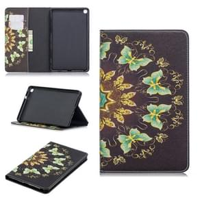 Colored Drawing Semicircular Butterfly Pattern Horizontal Flip Leather Case for Galaxy Tab A 8 (2019) P200 / P205, with Holder & Card Slots & Wallet