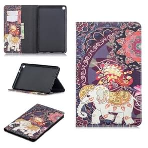 Colored Drawing Flower Elephant Pattern Horizontal Flip Leather Case for Galaxy Tab A 8 (2019) P200 / P205, with Holder & Card Slots & Wallet
