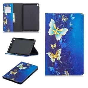 Colored Drawing Golden Butterfly Pattern Horizontal Flip Leather Case for Galaxy Tab A 8 (2019) P200 / P205, with Holder & Card Slots & Wallet