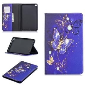 Colored Drawing Purple Butterfly Pattern Horizontal Flip Leather Case for Galaxy Tab A 8 (2019) P200 / P205, with Holder & Card Slots & Wallet