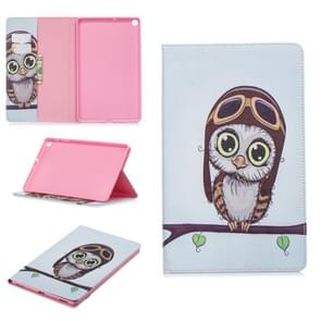 Colored Drawing Owl Pattern Horizontal Flip Leather Case for Galaxy Tab A 10.1 (2019) T510 / T515, with Holder & Card Slots & Wallet