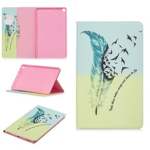 Colored Drawing Feather Bird Pattern Horizontal Flip Leather Case for Galaxy Tab A 10.1 (2019) T510 / T515, with Holder & Card Slots & Wallet