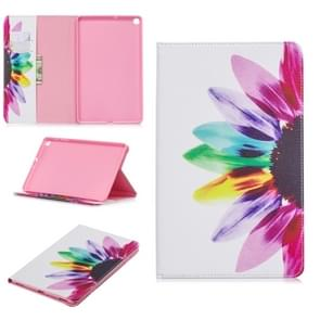 Colored Drawing Sunflower Pattern Horizontal Flip Leather Case for Galaxy Tab A 10.1 (2019) T510 / T515, with Holder & Card Slots & Wallet
