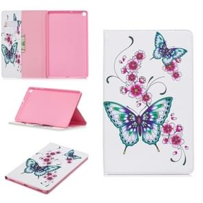 Colored Drawing Peach Blossom and Butterfly Pattern Horizontal Flip Leather Case for Galaxy Tab A 10.1 (2019) T510 / T515, with Holder & Card Slots & Wallet