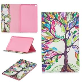 Colored Drawing Tree of Life Pattern Horizontal Flip Leather Case for Galaxy Tab A 10.1 (2019) T510 / T515, with Holder & Card Slots & Wallet