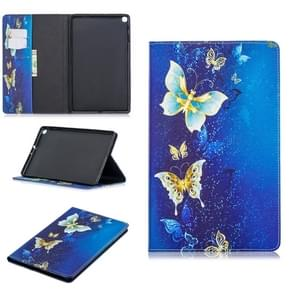 Colored Drawing Golden Butterfly Pattern Horizontal Flip Leather Case for Galaxy Tab A 10.1 (2019) T510 / T515, with Holder & Card Slots & Wallet
