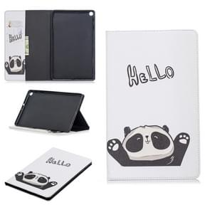 Colored Drawing Hello Panda Pattern Horizontal Flip Leather Case for Galaxy Tab A 10.1 (2019) T510 / T515, with Holder & Card Slots & Wallet